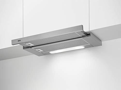 AEG DPB5652M Flachschirm-Dunstabzugshaube / Abluft oder Umluft / 60cm / Grey / max. 448 m³/h / min. 51 – max. 70 dB(A) / A / SoftTouch Tasten / Grey