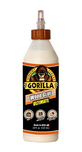 Gorilla Ultimate Waterproof Wood Glue, 18 ounce, Natural, (Pack of 1)