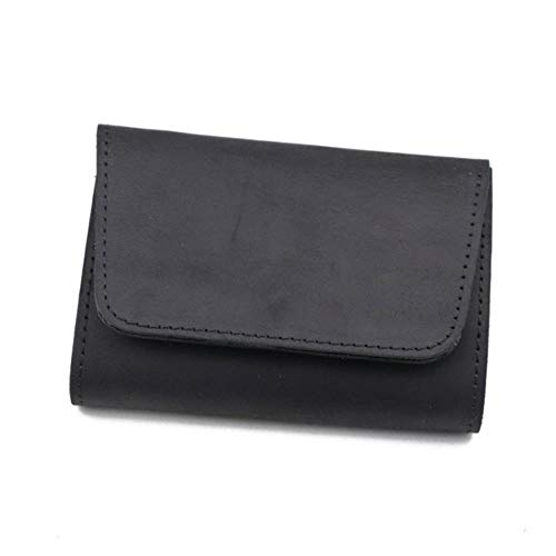EMOHKCAB Crazy Horse Leather Card Card Men Women Vintage Handmade Short Credit Card Bag Coin Purse Case Small Slim Wallet Male, Charcoal Grey