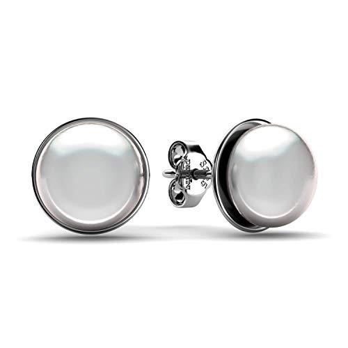 DEPHINI - Perlenohrringe - 925 Sterling Silber - Feiner Schmuck - Ozeanechte Perle Tropfen Ohrringe - Weiße Ohrstecker für Frauen - Premium rhodiniert - Geschenke für Frauen