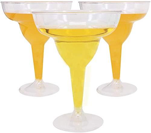 Benail - Paquete de 18 vasos para margarita de plástico duro transparente de 11 oz/vasos de fiesta, copas de cóctel