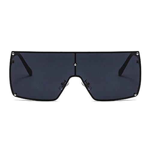 Gosunfly Gafas de sol europeas y americanas con montura grande, gafas de sol de verano para mujer, montura dorada, escamas grises