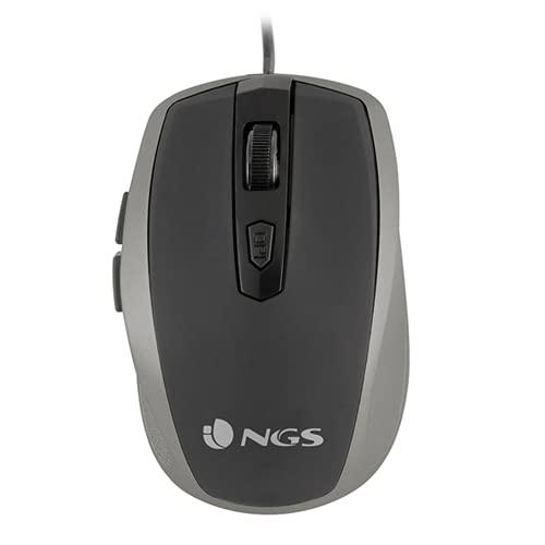 NGS Tick Silver - Ratón Óptico 800/1600dpi con Cable USB, Ratón para Ordenador o Portátil con 6 Botones, Ergonomia para Diestros, Plateado y Negro