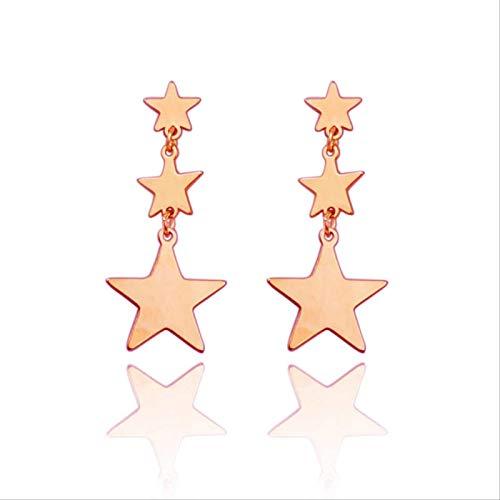 Pivbcpw Pendientes S925 Aguja De Plata Personalidad Estrella De Cinco Puntas Temperamento Estrella Simple Estilo Largo