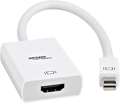 Amazon Basics - Adaptador de Mini DisplayPort a HDMI, color blanco