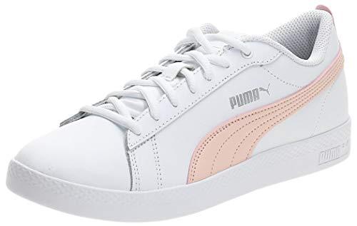 PUMA Smash Wns V2 L, Zapatillas Mujer, Blanco (White/Peach Parfait/Silver), 36 EU