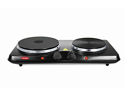 Cheftek CT1010 Dual Electric Stove with 6'' and 7.5'' Cook Plates; 1700W; Enamel Coated Iron; Black