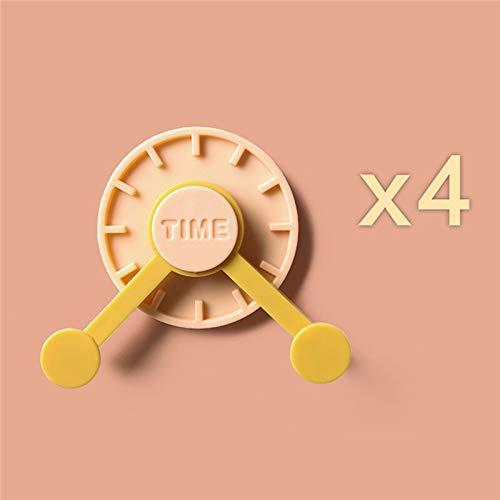 Türhaken, selbstklebend, für Badezimmer, Küche, Tür, Wandmontage, kreativer Uhrenhaken, 4 Stück (Farbe: Rosa)