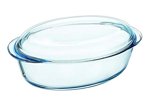 Pyrex Kasserolle oval, 33x20x13 cm, Glas, Transparent, 33 cm