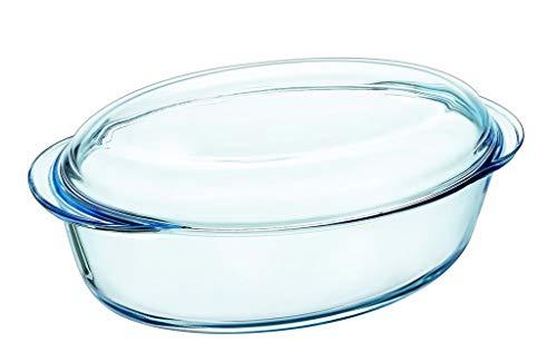 Pyrex Oval Casserole Dish 33x 20x 13cm, Glass, Clear, 33cm