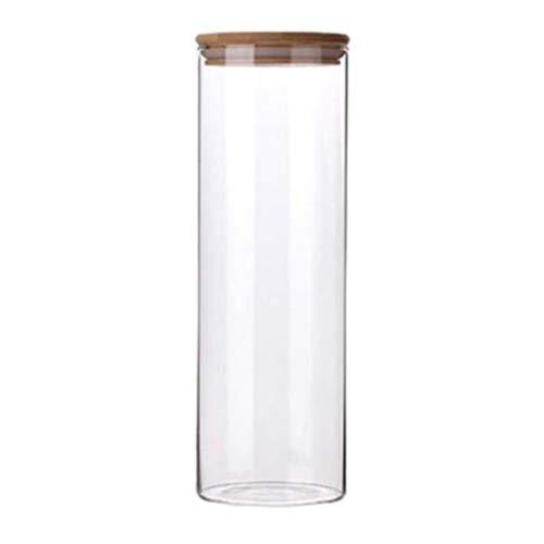 Hemoton Glazen Theebus Voorraadpot Met Luchtdicht Deksel Van Acacia Graanreservoir Voor Thee Koffiekruiden 2L