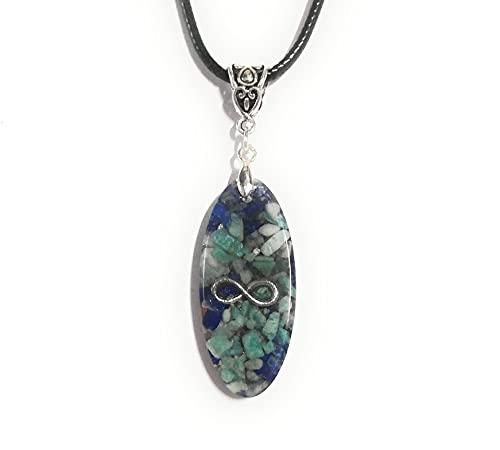 Orgonita Infinito Colgante Joyas Orgone Amazonita Lapislázuli Collar Unisex Piedras naturales Protección EMF Energía Chakra Reiki Amuleto