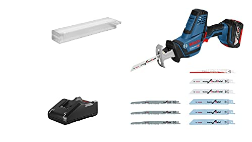 Bosch Professional 18V System Scie sabre sans-fil GSA 18V-LI C (avec 1 batterie GBA 18V 5.0 Ah, chargeur rapide GAL 18V-40, 10 lames de scie sabre, dans L-BOXX 136) - Amazon Exclusive
