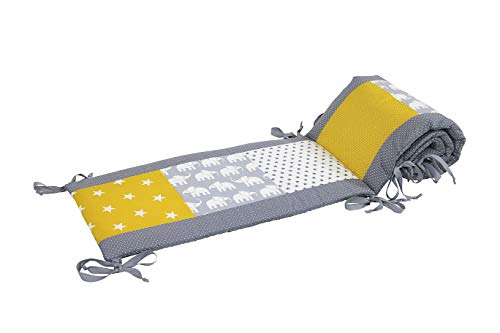 Bettumrandung für Babybett 60x120 cm   Made in EU   ÖkoTex 100   Schadstoffgeprüft   Antiallergisch   Baby Nestchen Rundum   Umrandung Babybett   Elefant Gelb   ULLENBOOM ®