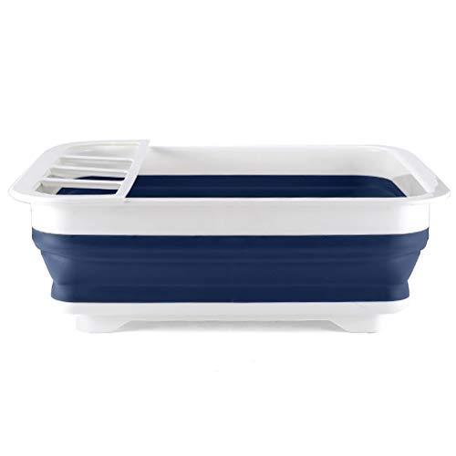 Suszian Estante de plástico plegable para platos de drenaje, soporte de tazas, plegable, escurreplatos y cubo plegable para cocina, camping