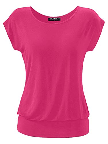 Fleasee Damen T-Shirt Kurz Ärmel Bluse Stretch Lässig Tunika Allover Druck Oberteile Top L Rose Rot