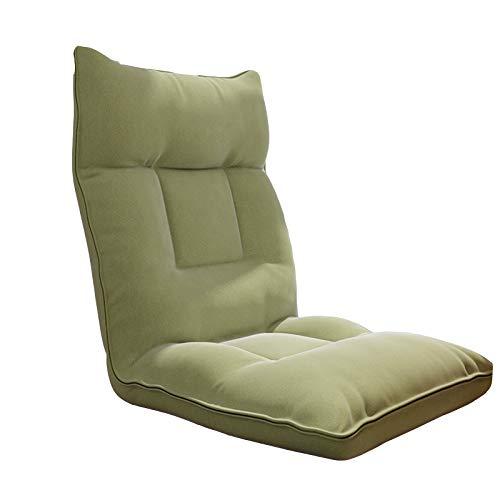 YMBKFan Lujoso Sillas De Piso Plegable Ajustable Sofá De Juego con Soporte De Devolución Cama para Dormir Couch Recliner para Salón Dormitorio Lazy Sofá-Verde 55x55x52cm(22x22x20inch)