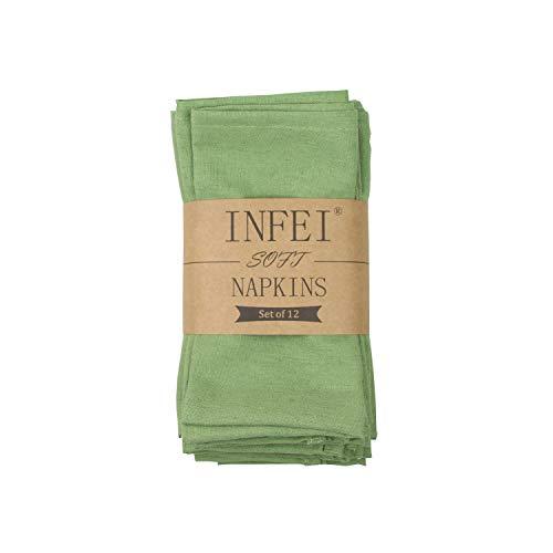 INFEI - Servilletas de lino y algodón, juego de 12 unidades, 40 x 40cm, poliéster 80 % algodón. Poliéster. Lino algodón, verde lima, 40 x 40 cm