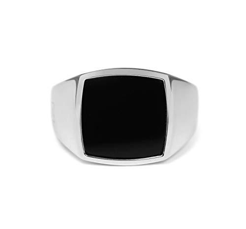 Sprezzi Fashion Siegelring Herren silber aus massivem 925 Sterling Silber quadratisch glänzend mit Stein schwarz Onyx |minimalistisch-moderner Männer-Ring Schmuck aus Deutschland (Onyx, 62 (ø19.7mm))