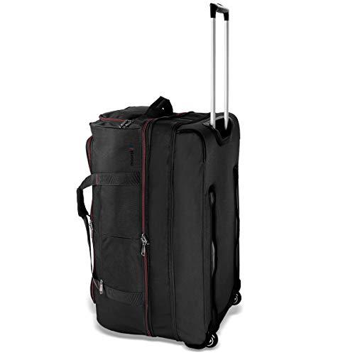XXL Reisetasche 'akropolis' von noorsk® | große Tasche | Sporttasche mit Rollen und Trolleyfunktion | 110 Liter - Schwarz