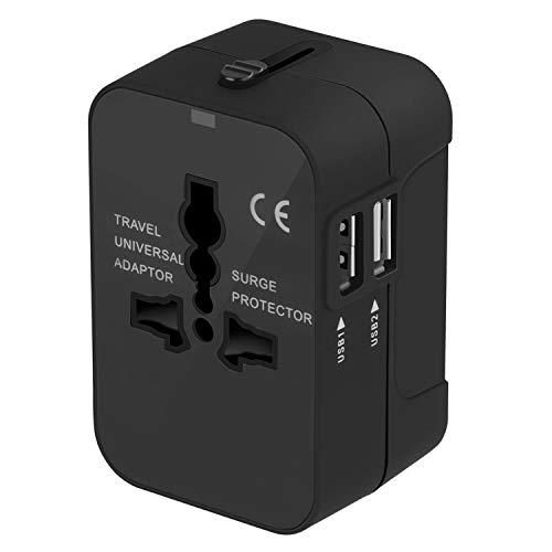 Adaptador Enchufe De Viaje Universal Enchufe Adaptador Internacional Con Dos Puertos USB Para Japón China Canadá USA EU UK AU Acerca De 150 Países Para Navidad (Negro)
