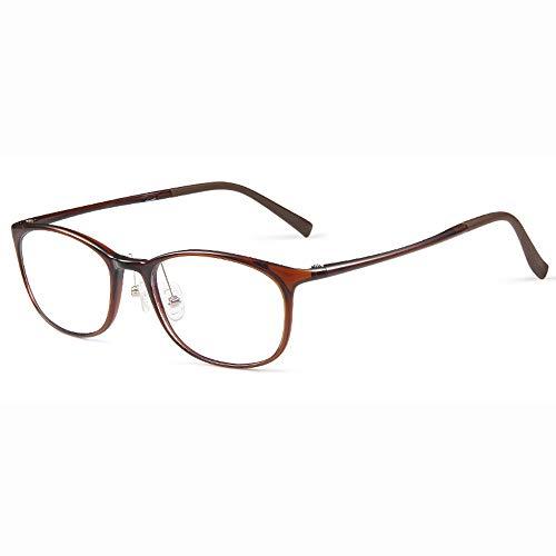 Gafas De Lectura con Luz Anti-Azul para Hombres Ultraligeras TR90, Montura Comercial Ovalada Gafas De Resina HD Dioptrías De +1,0 A +3,0,Marrón,+2.50