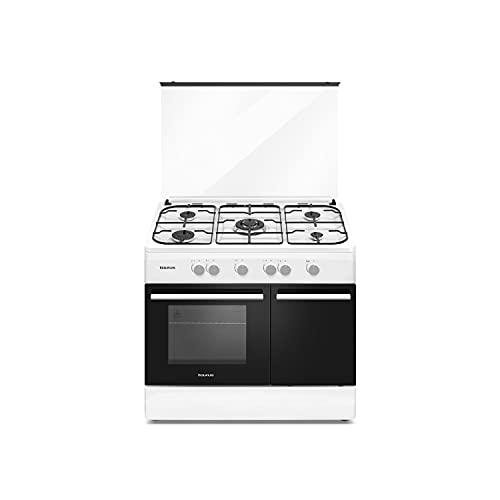 Taurus CIG5FWHM - Cocina de gas butano independiente, esmaltado brillante blanco, 5 quemadores, horno con quemador inferior de 70L, compartimiento para bombona, tapa de cristal, 60x90x88cm, 10500W