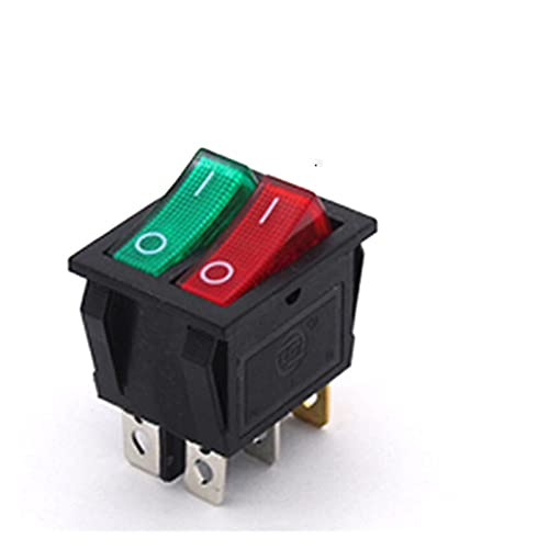 YSYSPUJ KCD8 6pin Switch Switch Interruptor de Encendido Duplex On-Off 2position 6 Pines con Light 16A 250VAC / 20A 125VAC (Color : Red Green)