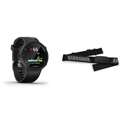 Garmin Forerunner 45 – GPS-Laufuhr mit umfangreichen Lauffunktionen, Trainingsplänen & Premium-Herzfrequenz-Brustgurt Dual Basic, Herzfrequenzdaten in Echtzeit via Bluetooth Low Energy oder ANT+