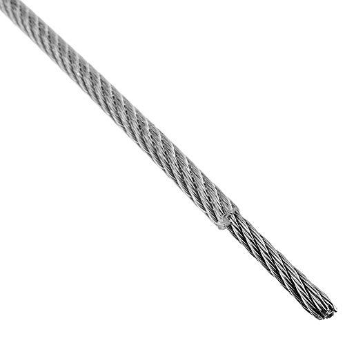 BeMatik - Cable de Acero Inoxidable de 4,0 mm. Bobina de 10 m. Recubierto de plástico Transparente