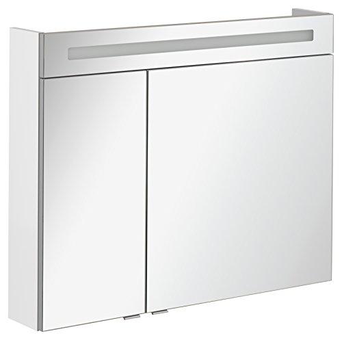 FACKELMANN Spiegelschrank B.CLEVER/zweitürig/Spiegelschrank mit gedämpften Scharnieren/Maße (B x H x T): ca. 90 x 71 x 16 cm/hochwertiger Spiegelschrank/Möbel fürs WC und Bad/Korpus: Weiß