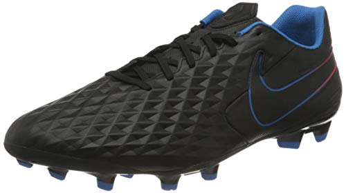 Nike Legend 8 Academy FG/MG, Football Shoe Unisex Adulto, Black/Black-Siren Red-Light Photo Blue-Cyber, 44.5 EU