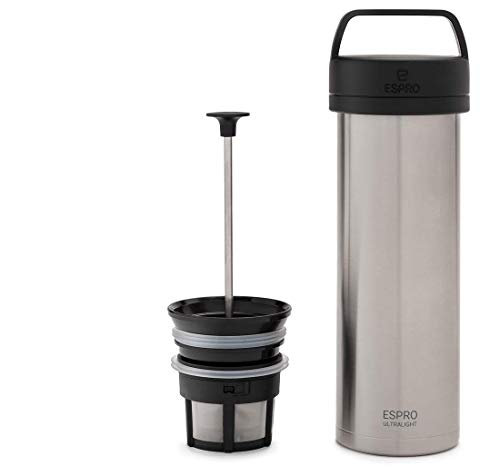 ESPRO Reise-French Press Ultralight, Mini Coffee Maker mit Thermo-Funktion, Kaffee, Edelstahl, to go, 475ml, edelstahl