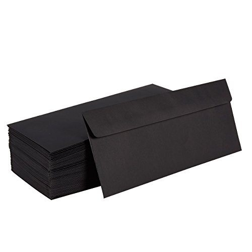 100 Pack #10 Business Letter Envelopes in Bulk for Mailing, 4 1/8 x 9 1/2 Inches, Black