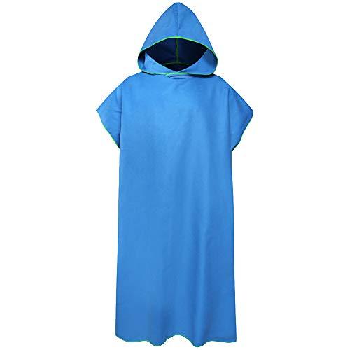 Wilxaw Poncho de Playa, Poncho de Toalla con Capucha Toalla con Capucha de Microfibra, Poncho de Surf Secado Rápido para Hombre y Mujer, Azul