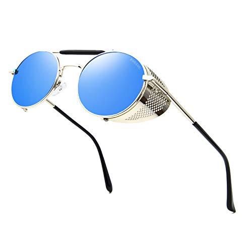 RONSOU Steampunk Stil Rund Vintage Sonnenbrillen Retro Brillen UV400 Schutz Metall Rahmen silber rahmen/blau linse