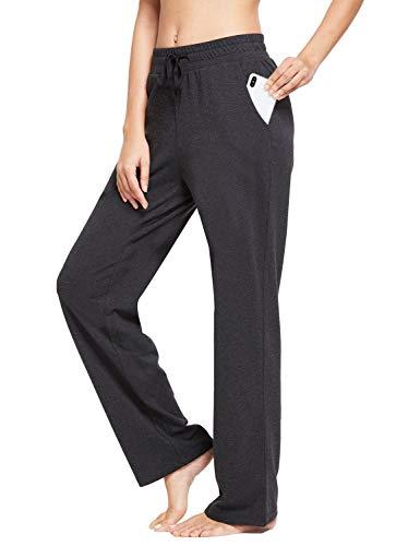BALEAF Damen Thermo Jogginghose Sweathose Yogahose mit Eingriffstaschen und geradem Bein Holzkohle Grau XL