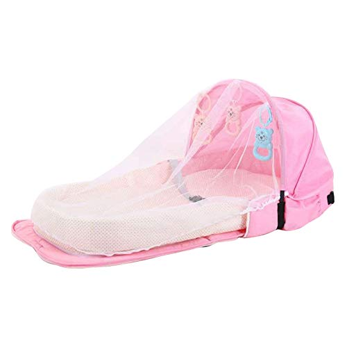 chaochao Cuna Portátil Plegable Cuna de Viaje para Bebé Recién Nacido Tumbona para Bebé con Mosquitera Cama Bebé Portable con Juguetes para Dormir (Rosa, 92x46x14cm)