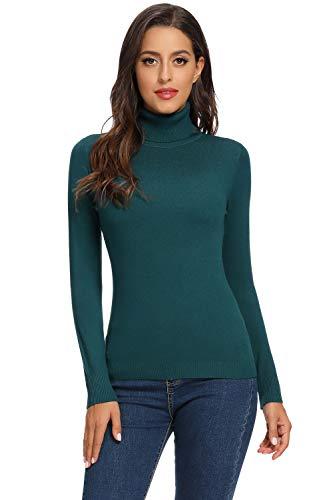Avacoo Damen Rollkragenpullover Strickpullover Basic Langarmshirt Super Soft Pullover Türkis M 38