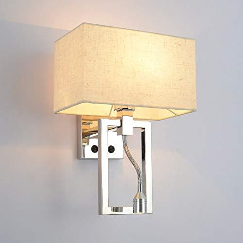 Lámpara De Pared Lámpara De Lectura Lámpara De Pared De Acero Inoxidable E14 Imitación Lino