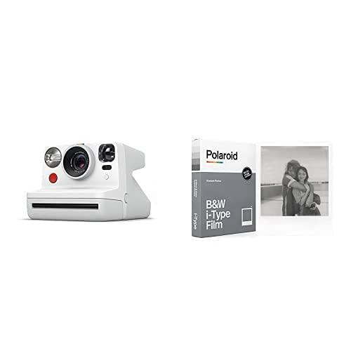 Polaroid - 9027 - Polaroid Now Fotocamera Istantanea i-Type, Bianco + 6001 - Pellicola Istantanea Nero e Bianco per i-Type
