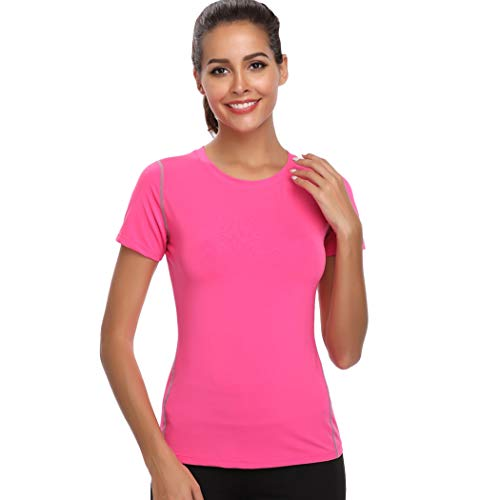 Joyshaper - Camiseta de entrenamiento para mujer, yoga, fitness, secado rápido, compresión Rosa. M