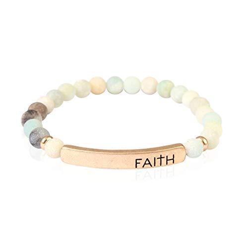 Inspirational Bar Natural Stone Stretch Prayer Bracelet - Christian Religious Message Adjustable Cuff Bangle Amazing Grace/Blessed/Faith/Love/Hope/Bible (Faith - Amazonite)