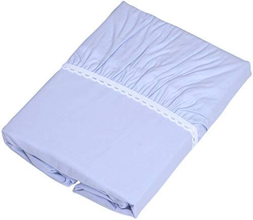 京都西川 ボックスシーツ ブルー 100x200x30cm 綿100% 全周ゴム付き 着脱簡単 洗える TRS8266(S)