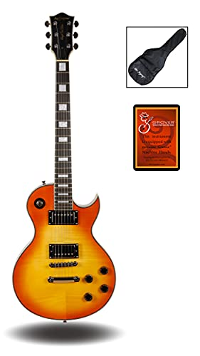 Leo Jaymz Single cut curved top GROVER machine heads Electric guitar full size with a graphic in high gloss color, include soft bag (Honey Sunburst)