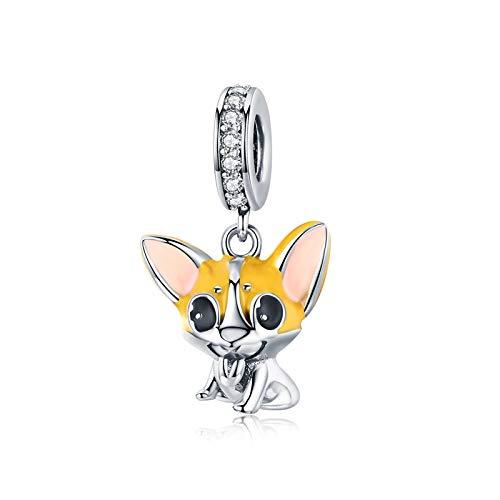 LaMeanrs Charm-Anhänger Hunde Tiere Kollektion, aus 925er Sterlingsilber Emaille Cubic Zirkonia, passend für Pandora Europäische Charm Armbänder Halsketten (Corgi Dog)