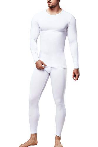DEVOPS Men's Thermal Wintergear Heat-Chain Microfiber Fleece Underwear Baselayer Top & Bottom (Long Johns) Set (Small, White)