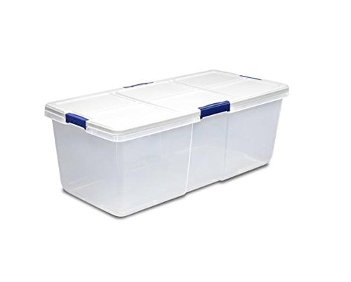 Hefty 100-Quart Latch Box, Large Capacity, White Lid and 4 Blue Handles