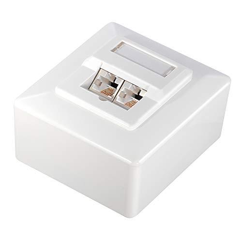 Easymouse Enchufe de red LAN de 2 vías, toma de red, cable LAN CAT.6 CAT.7, caja de conexión LSA para montaje en pared o empotrado, carcasa de zinc fundido a estable (2 unidades)