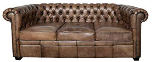 Casa Padrino Luxus Chesterfield Büffelleder Sofa Vintage Braun 192 x 92 x H. 73 cm - Luxus Möbel